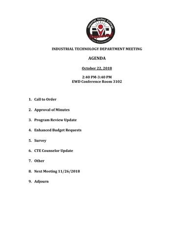 Industrial Tech Agenda 10-22-18