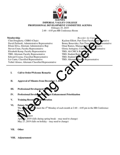 2019 February Professional Development Committee Minutes Meeting Canceled