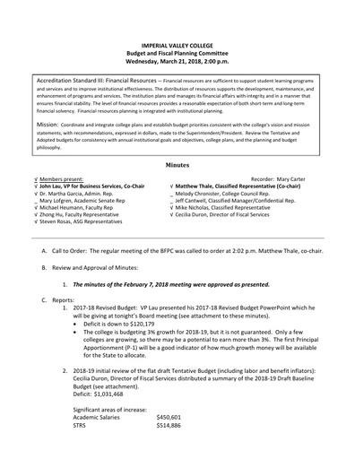 BFPC Minutes 03-21-18