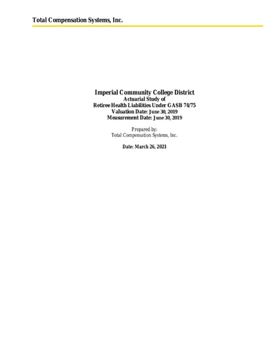 Actuarial Study Under GASB 74 75 (06-30-2019)