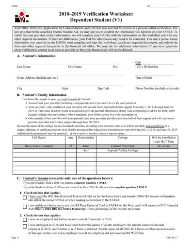 V1 Dep Verification Worksheett 18-19