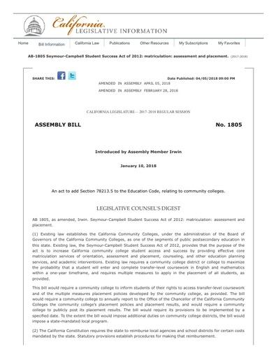 Bill Text AB 1805