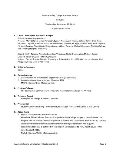 Academic Senate minutes 2018-09-19