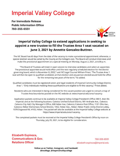 Imperial Valley College to extend applications in seeking to appoint a new trustee to fill the Trustee Area 1 seat vacated on June 3, 2021 by Annette Gonzalez Buttner