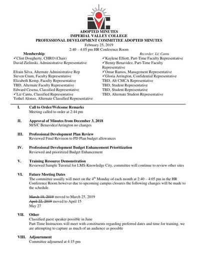2019 February Professional Development Committee Adopted Minutes