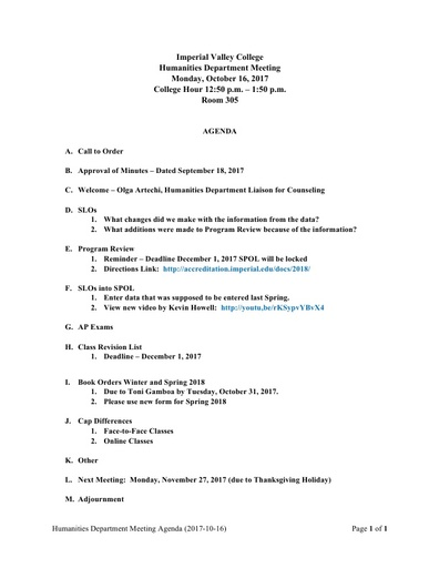 Agenda Humanities Department Meeting 2017 10 16