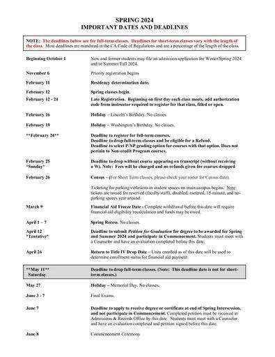 Spring 2022 Class Schedule - Important Dates & Deadlines