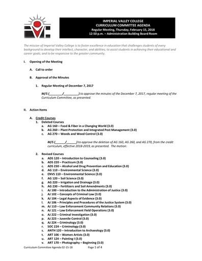Agenda Curriculum 2018-02-15
