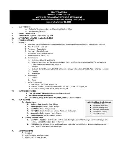 Agenda ASG 2018 09 10