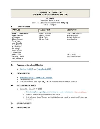 Agenda Student Affairs 2018-03-08