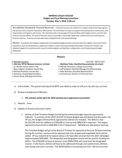 BFPC Minutes 05-01-18
