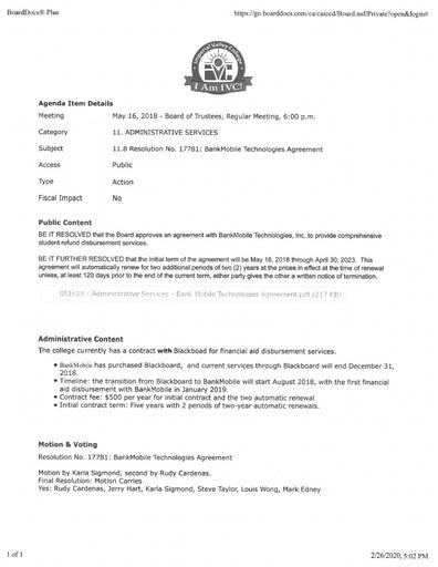 BankMobile Contract
