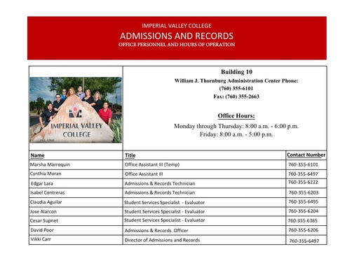Admission & Records Office Personnel and Office Hours