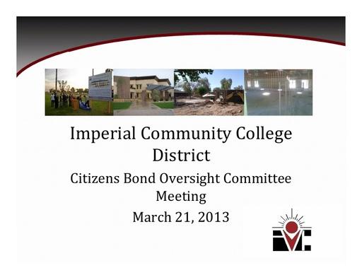 Oversight Committee Presentation 2013-03-21