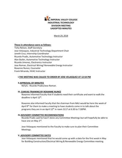 Industrial Tech Dept Meeting Minutes 3-29-18
