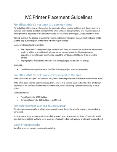 IVC Printer Placement Guidelines