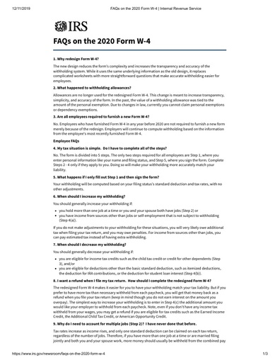 FAQs on the 2020 Form W 4 Internal Revenue Service
