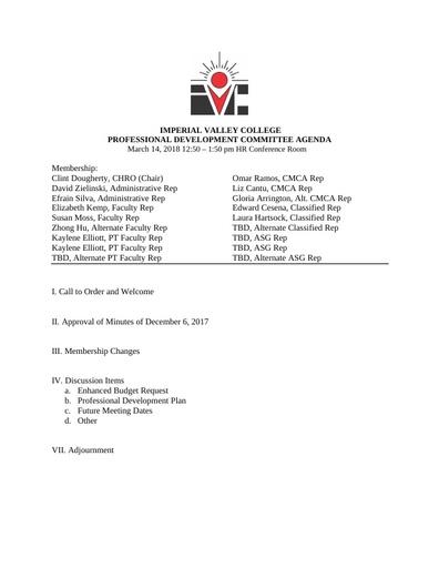 Professional Development Committee Agenda 03 14 18