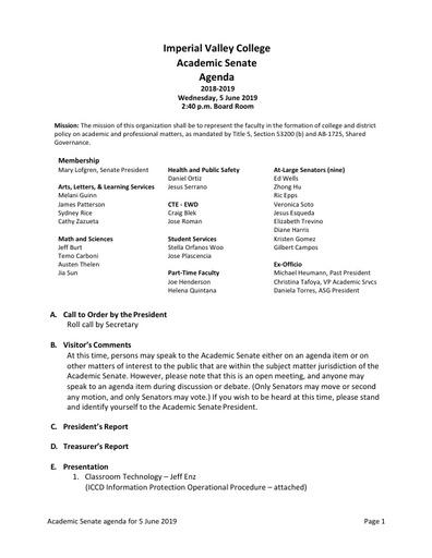 Academic Senate agenda 2019 06 05