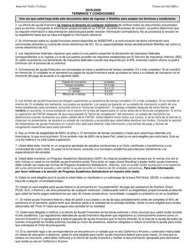 Términos y Condiciones 2019-20 (Español)