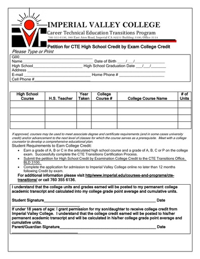 CTE High School CBE Petition for Credit