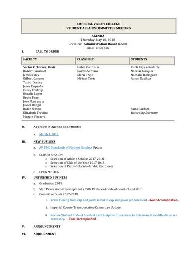 Agenda Student Affairs 2018-05-10