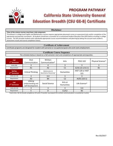 CSUGE-B Certificate - Program Pathway