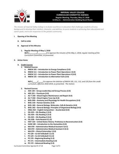 Agenda Curriculum 2018-05-17