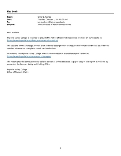 2019 Student Annual Disclosure Email