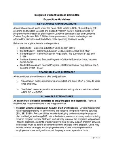 2017-10-17_Integrated Student Success Committee-Expenditure Guidelines