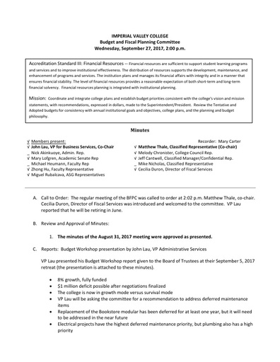 BFPC Minutes 09-27-17