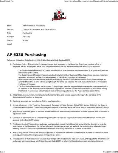 Purchasing - AP 6330 (Admin. Procedure)