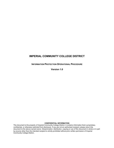 Imperial Community College District Information Protection Policy vF