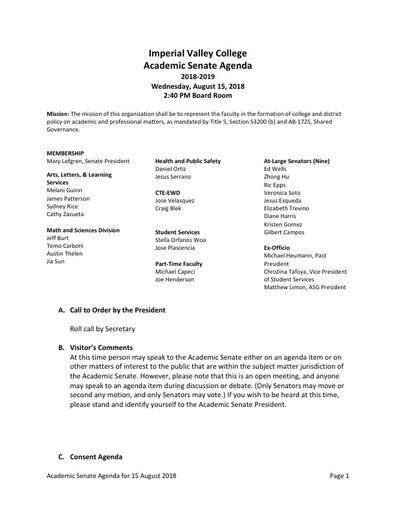 Agenda Academic Senate 2018-08-15