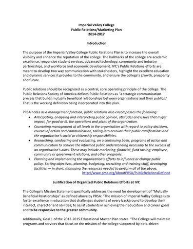 Public Relations Plan 2014-2017