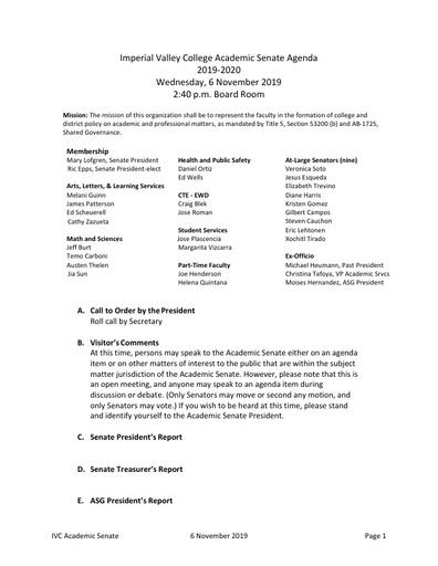 Academic Senate agenda 2019 11 06