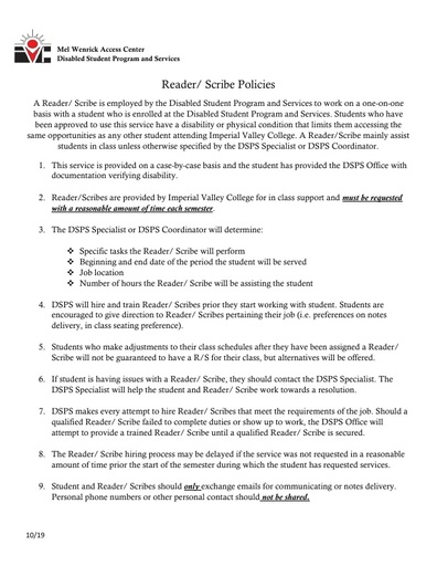 Reader and Scribe Policies