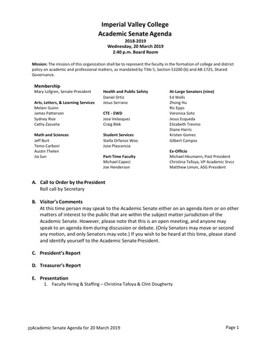 Academic Senate agenda 2019 03 20