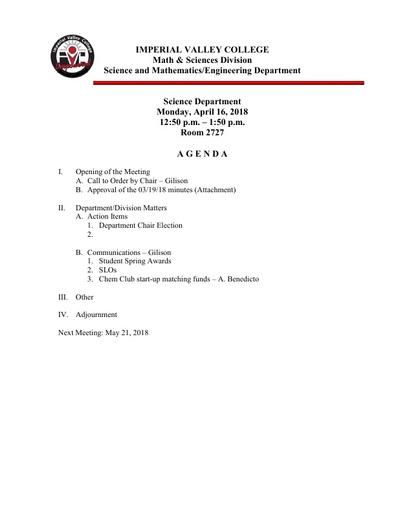 2018-04-16 SME Science Agenda