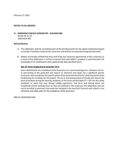 Informal Bidding Bid No. 20-21-14 Emergency Backup Generator (Bldg 900) - Addendum #5 Bid Clarification