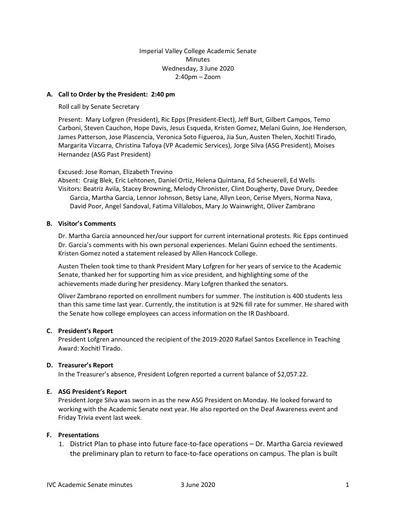 Academic Senate minutes 2020 06 03