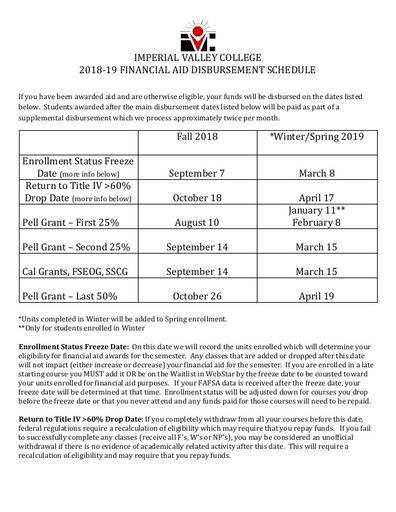 1819 Disbursement Schedule