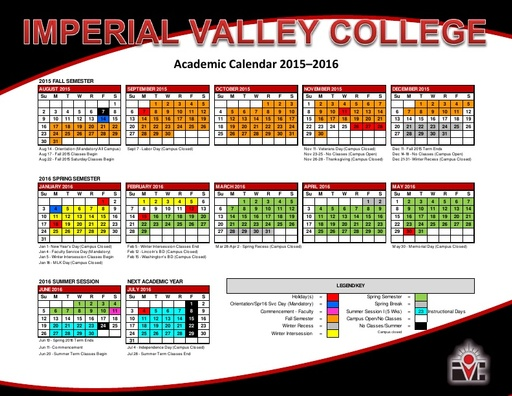 Academic Calendars - Courses & Programs - Imperial Valley ...