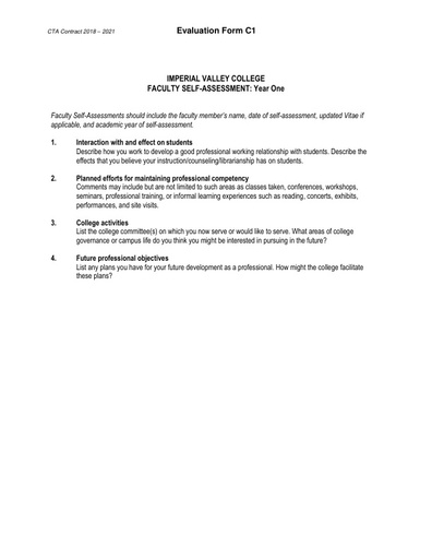 CTA Contract 2018 2021 Evaluation Form C1
