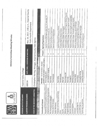 2017-10-14 EMS Program Advisory Committee Minutes