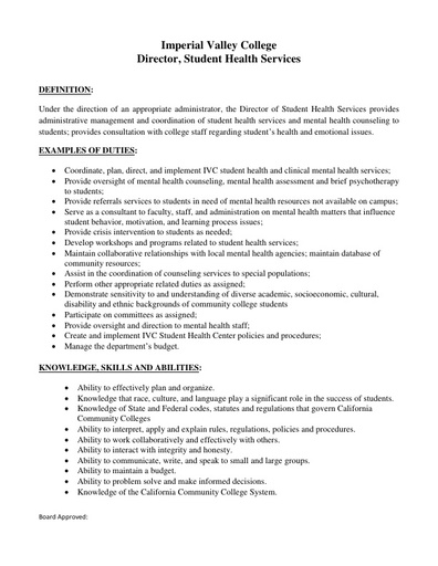Director of Student Health Services