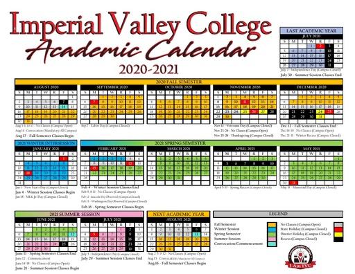 2020-21 IVC Academic Calendar