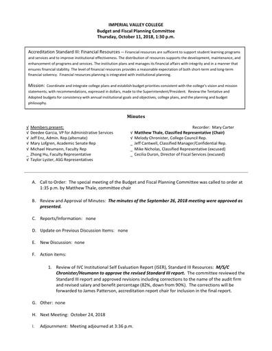 BFPC Minutes 10-11-18