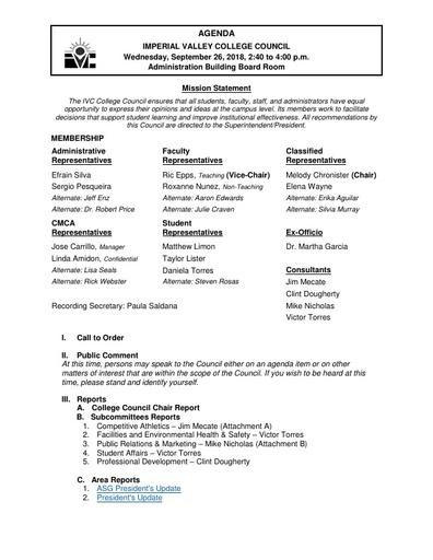 Agenda College Council 2018-09-26