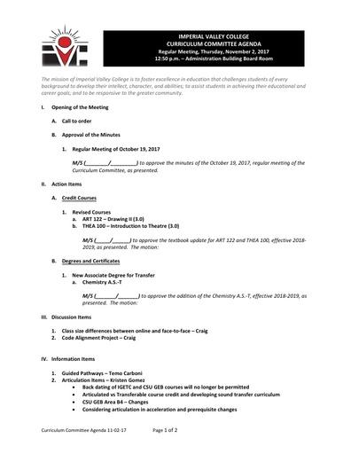 Agenda Curriculum-2017-11-02